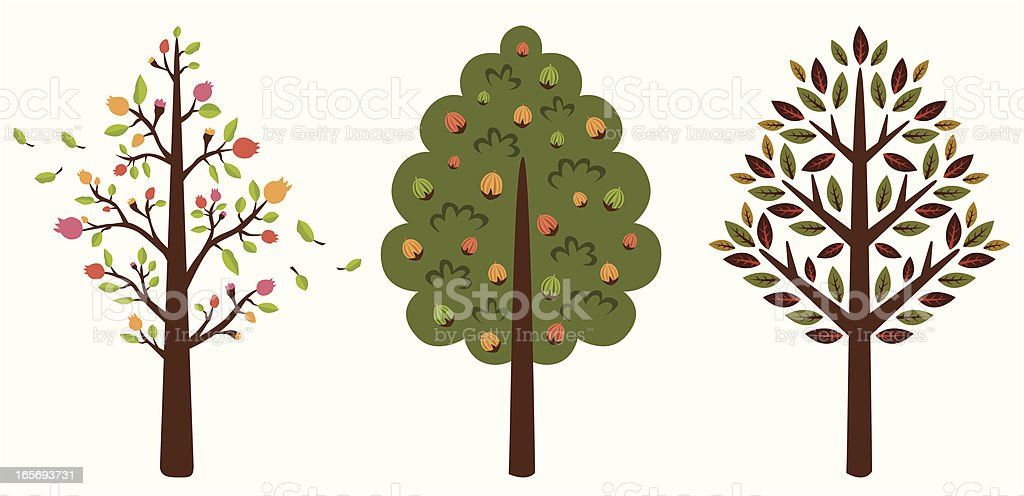 fruit tree set royalty-free stock vector art