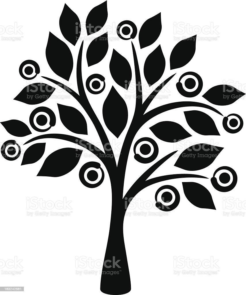 fruit tree silhouette royalty free stock vector art