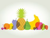 Various silhouettes of fruits using overlays and transparencies, best in RGB. Eps 10 file, CS5 version in the zip