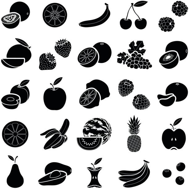 Fruit Fruit icon collection - vector silhouette illustration avocado silhouettes stock illustrations