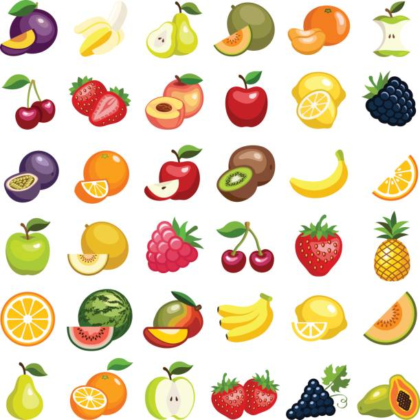 Fruit Fruit icon collection - vector illustration berry fruit stock illustrations