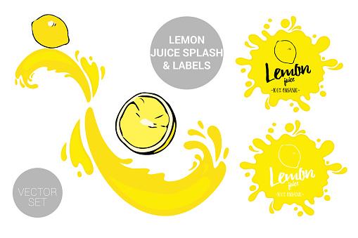 Fruit vector package set of cartoon yellow lemon on juice splashes. Citrus Juicy fruit badges with splash.