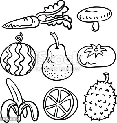 Fruit Vegetable Collection In Black And White Stock Vector ...  Fruit Vegetable...