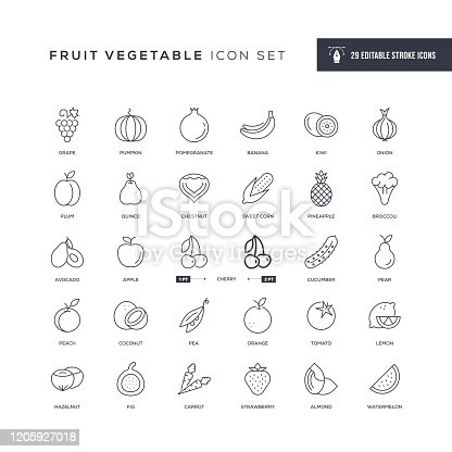 29 Fruit Vegetable Icons - Editable Stroke - Easy to edit and customize - You can easily customize the stroke with