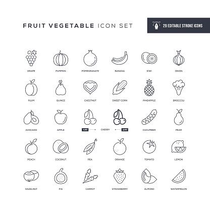 Fruit Vegetable Editable Stroke Line Icons