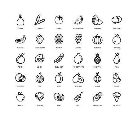 Fruit Vegetable Icon Set