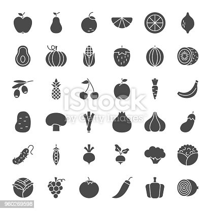 Fruit Vegetable Solid Web Icons. Vector Set of Food Glyphs.