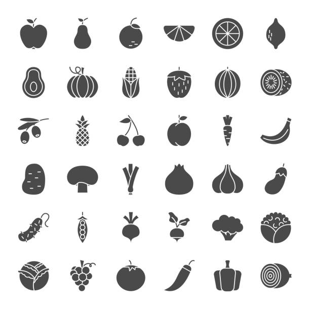 Fruit Vegetable Solid Web Icons Fruit Vegetable Solid Web Icons. Vector Set of Food Glyphs. fruit icons stock illustrations