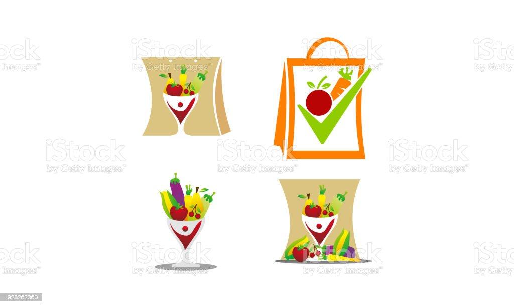 Fruit Vegetable Store Template Set vector art illustration