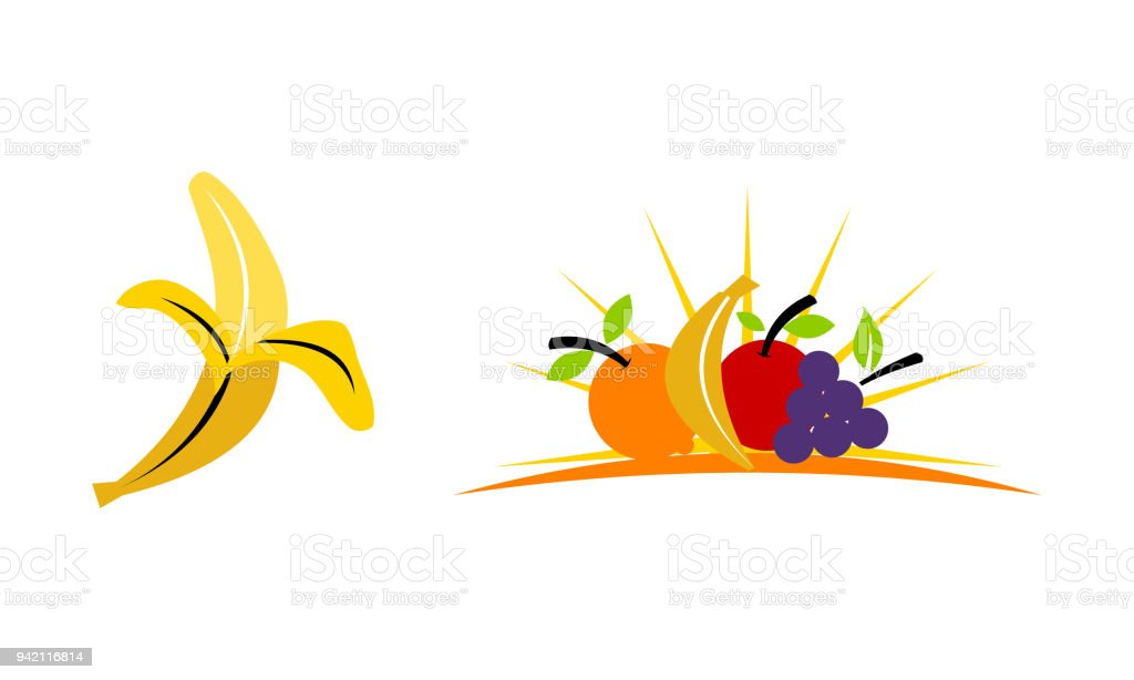 Fruit Vegetable Template Set vector art illustration