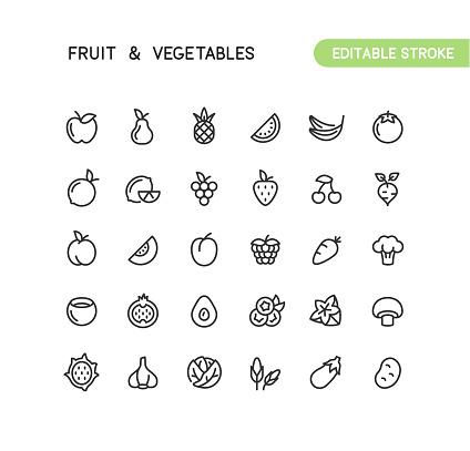 Fruit & Vegetables Outline Icons Editable Stroke