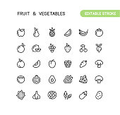 Set of fruit and vegetables outline vector icons. Every icon is grouped. Editable stroke.