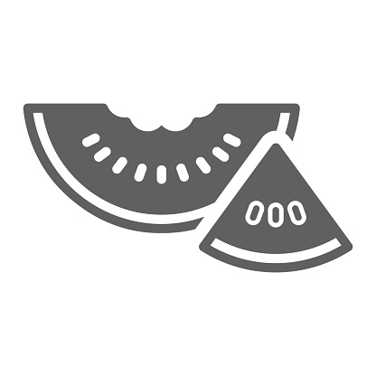 Fruit, watermelon icon. Gray vector isolated on a white background