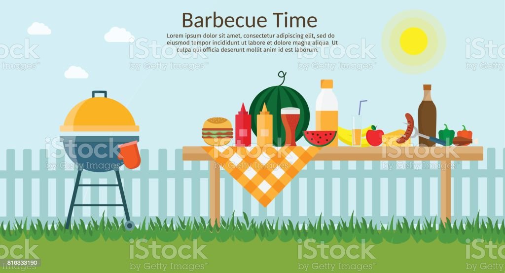 Fruit with wine, barbecue grill, watermelon on the grass, bbq flat illustration. Summer picnic on meadow under sky. vector art illustration