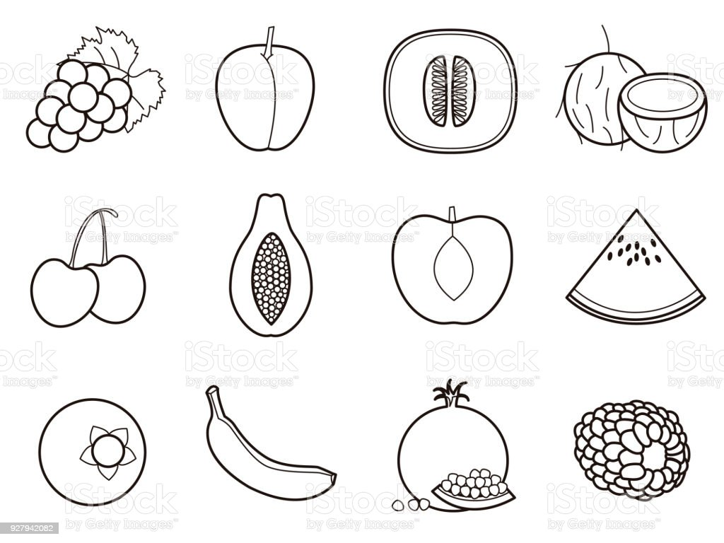 Fruits 2 icon set vector art illustration