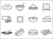 Set of 12 vector illustration icons related to food.