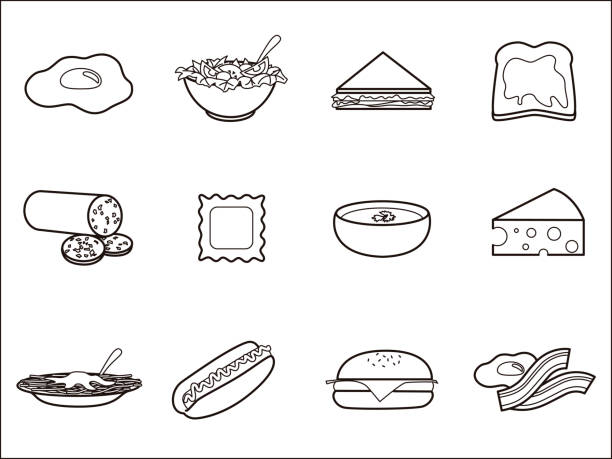 Fruits 3 icon set. Set of 12 vector illustration icons related to food. ravioli stock illustrations