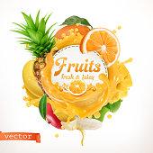 Fruits, 3d vector label