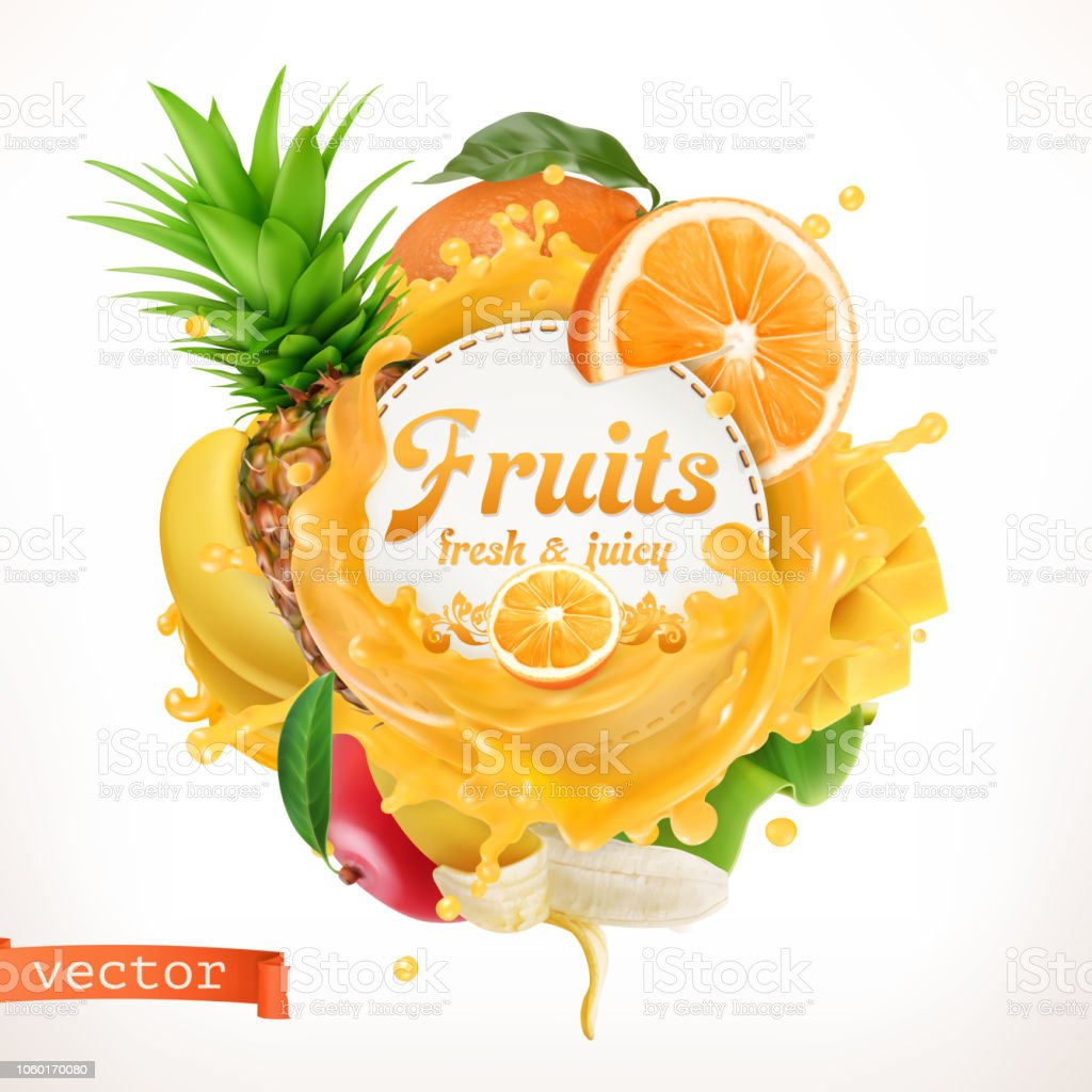 Fruits, 3d vector label vector art illustration