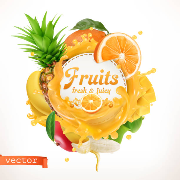 stockillustraties, clipart, cartoons en iconen met vruchten, 3d-vector label - sapjes