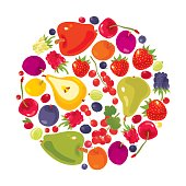 Fruits and Berries circle on white. Vector illustration.