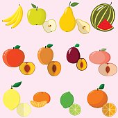 Illustration of juicy and ripe fruits and berries in a set.
