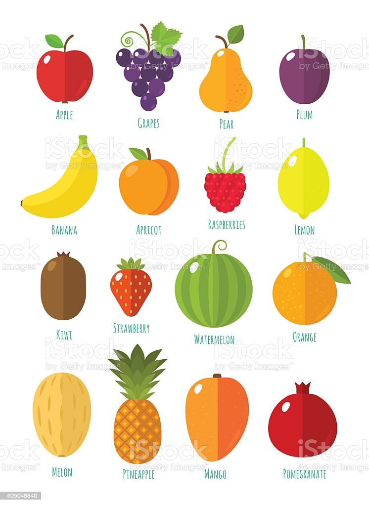 Fruits and berries collection vector art illustration