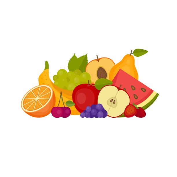 ilustraciones, imágenes clip art, dibujos animados e iconos de stock de frutas y bayas. alimentos saludables. plano de estilo, ilustración del vector. - fruta