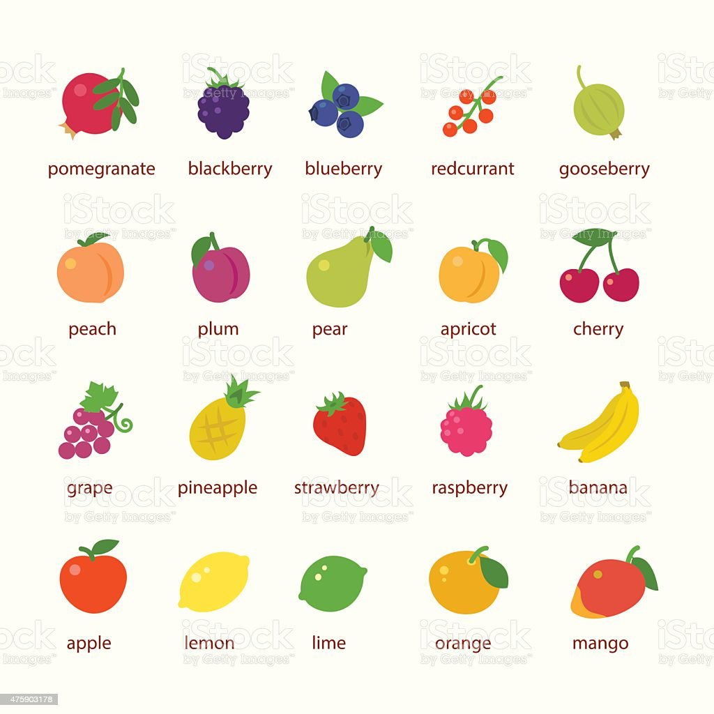 Fruits and berries icon set vector art illustration