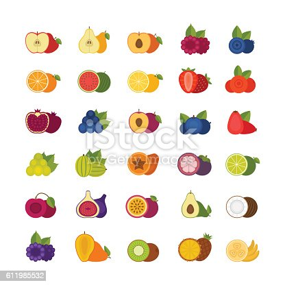 Fruits and berries icons set. Flat style, vector illustration.