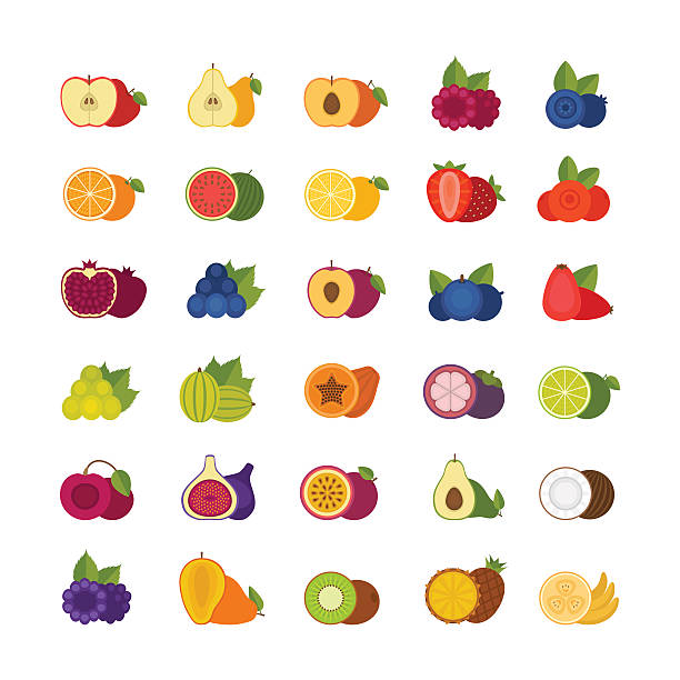 illustrazioni stock, clip art, cartoni animati e icone di tendenza di fruits and berries icons set. flat style, vector illustration. - passiflora