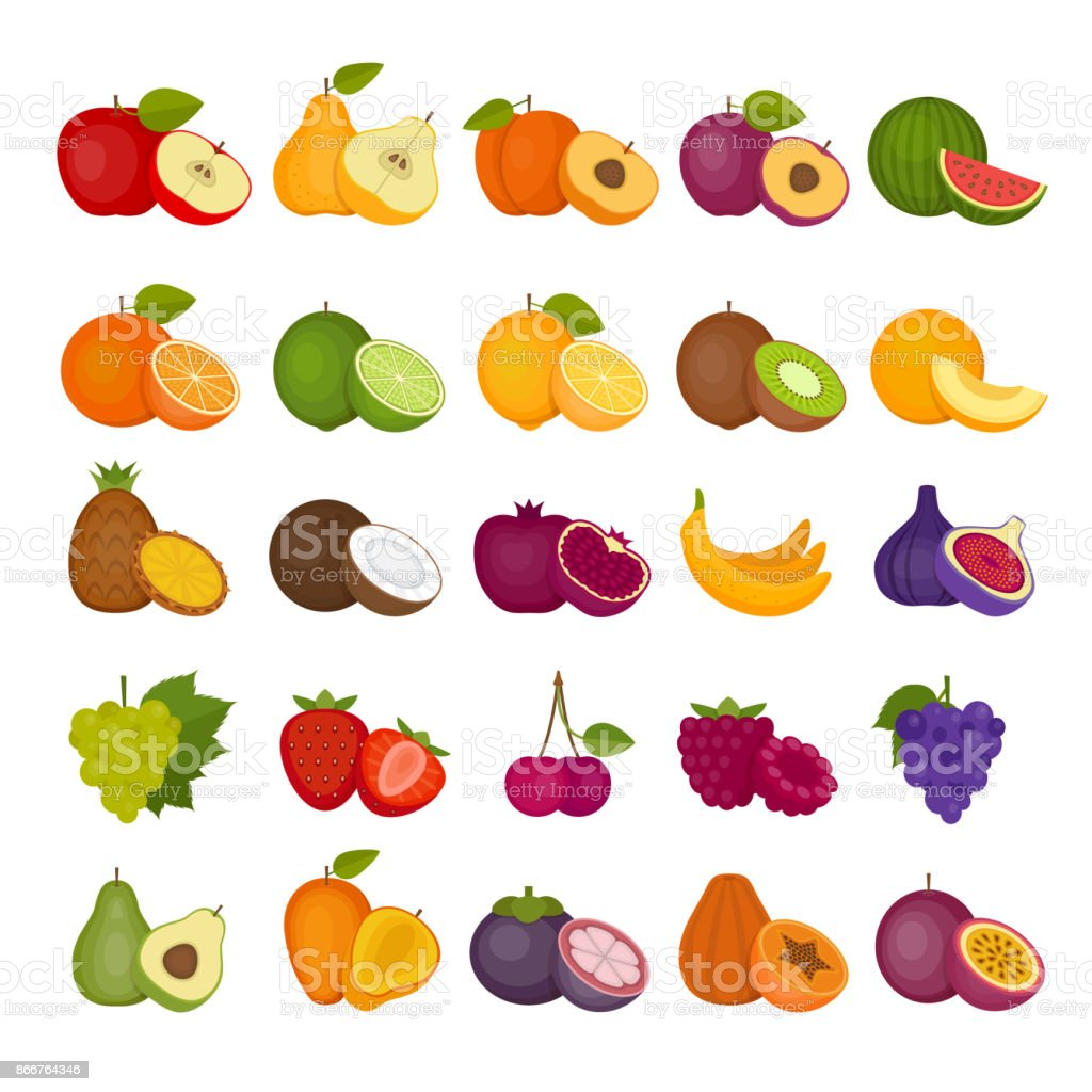 Conjunto de iconos de frutas y bayas. Plano de estilo, Ilustración del vector. - ilustración de arte vectorial