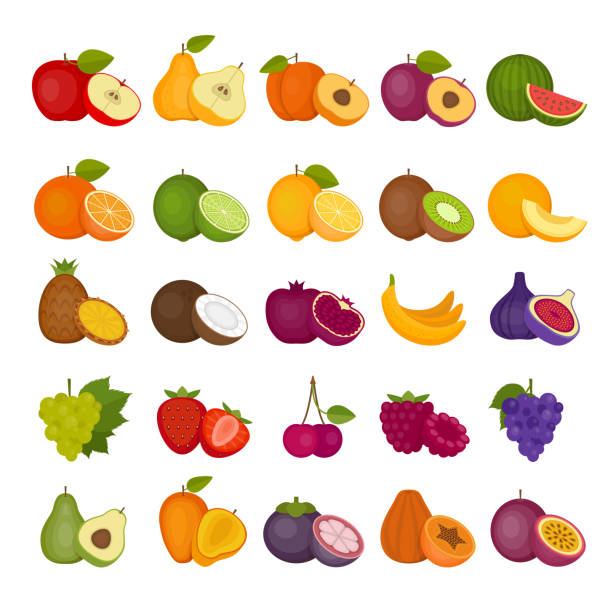 ilustrações de stock, clip art, desenhos animados e ícones de fruits and berries icons set. flat style, vector illustration. - kiwi
