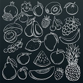 Set hand drawn fruits and berries icons set. Collection farm product in decorative retro sketch style for restaurant menu, market label. Mango, blueberry, pineapple, mandarin and etc.