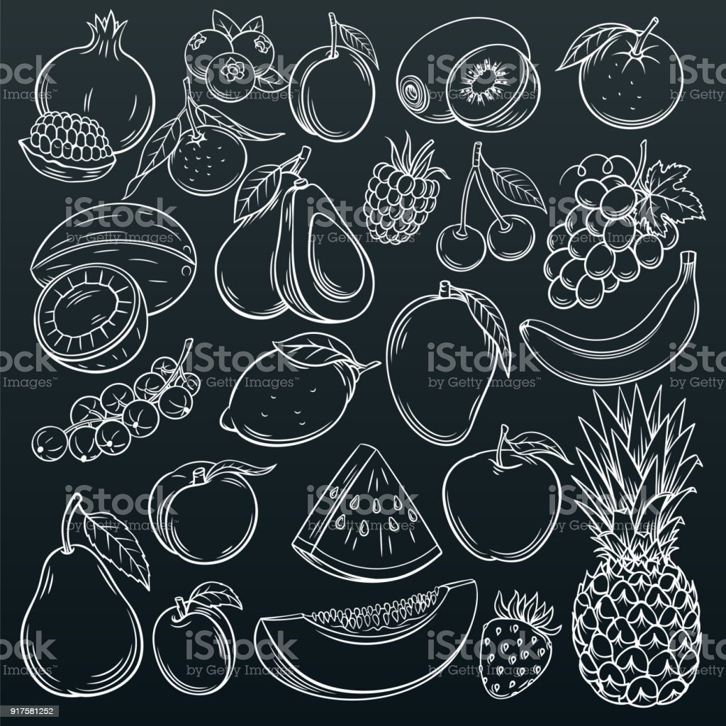 fruits and berries icons vector art illustration
