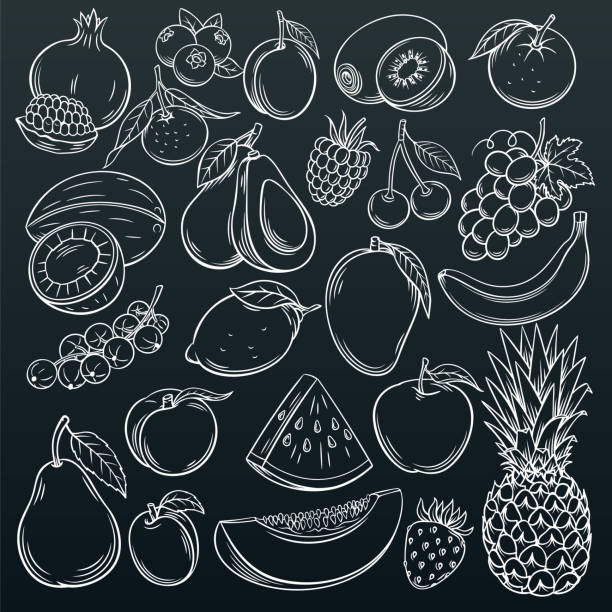 fruits and berries icons Set hand drawn fruits and berries icons set. Collection farm product in decorative retro sketch style for restaurant menu, market label. Mango, blueberry, pineapple, mandarin and etc. banana drawings stock illustrations