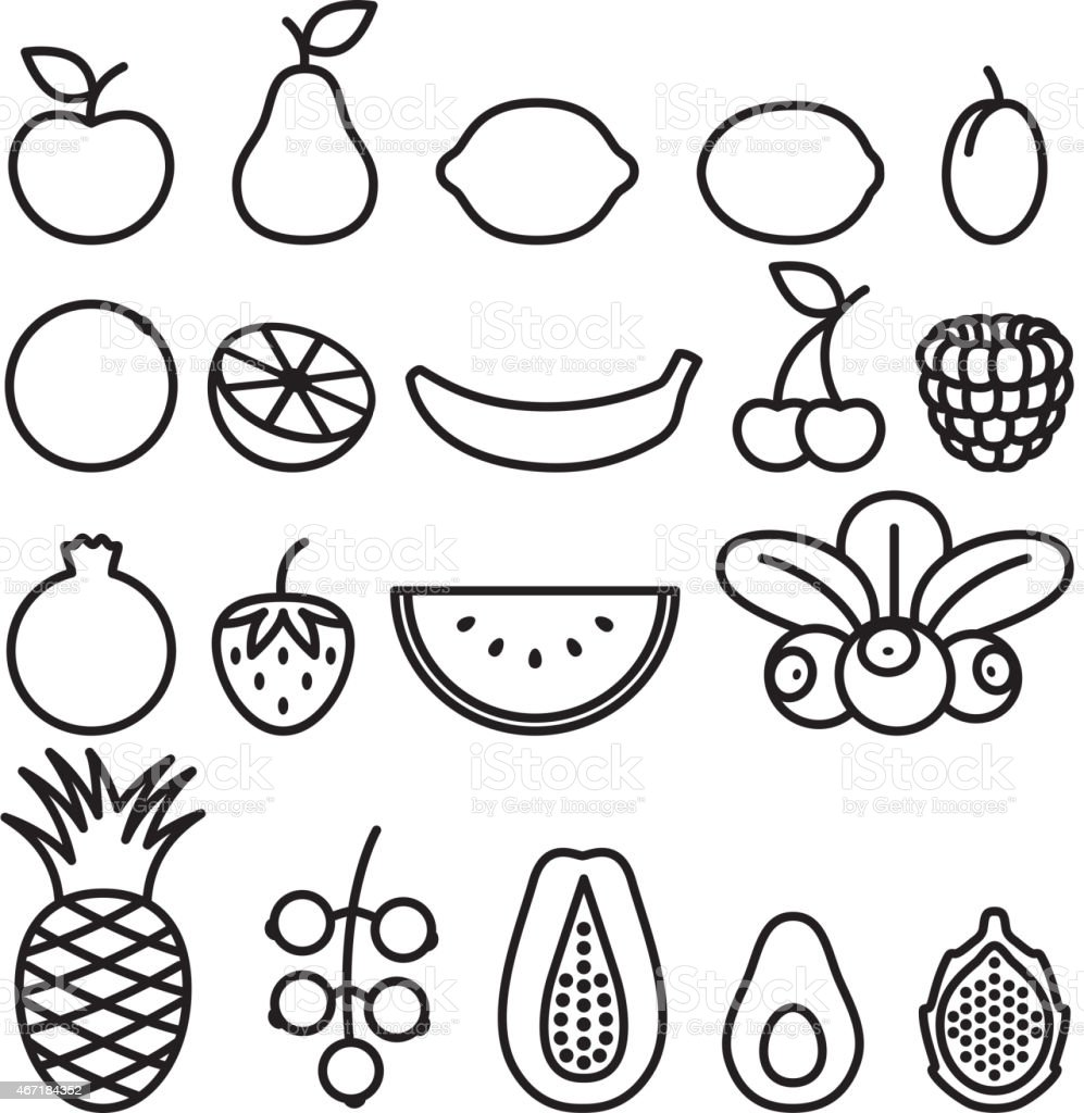 Line Art Fruits : Fruits and berries in line art style stock vector