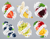 Fruits and berries in milk splash, yogurt. Strawberry, banana, apple, blueberry, grapes, mango. 3d realistic vector
