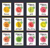 Fruits and berries labels. Hand drawn healthy, organic food and drink cards set. Farm eco products tags collection. Illustrations of Peach, Strawberry, Banana, Pear, Pineapple, Raspberry, Cherry.
