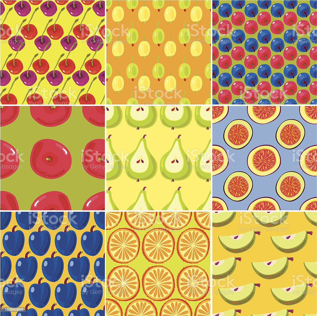 Fruits and Berries Seamless Patterns royalty-free stock vector art