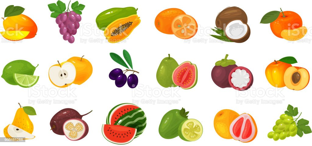 Fruits and berries, set of colored icons. Food concept. Vector illustration vector art illustration
