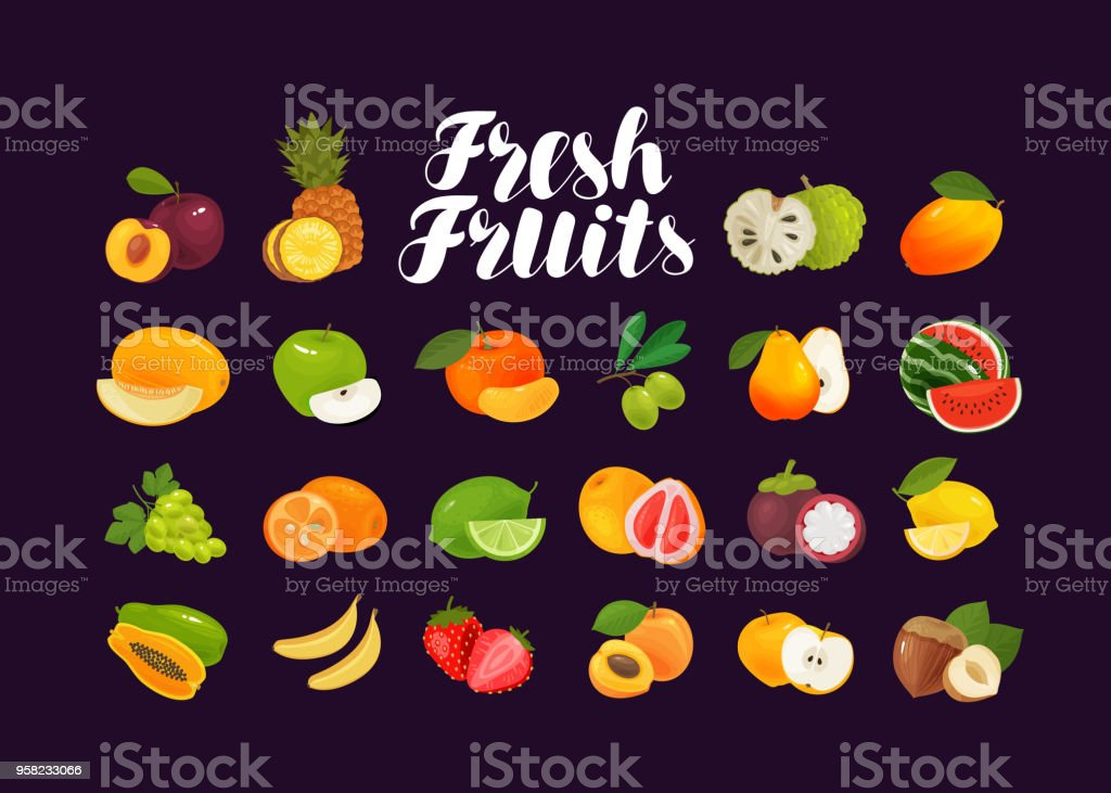 Fruits and berries, set of icons. Food, greengrocery, farm concept. Vector illustration vector art illustration