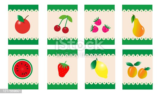 Fruits and berries. Set of stickers or cards. Vector illustration.
