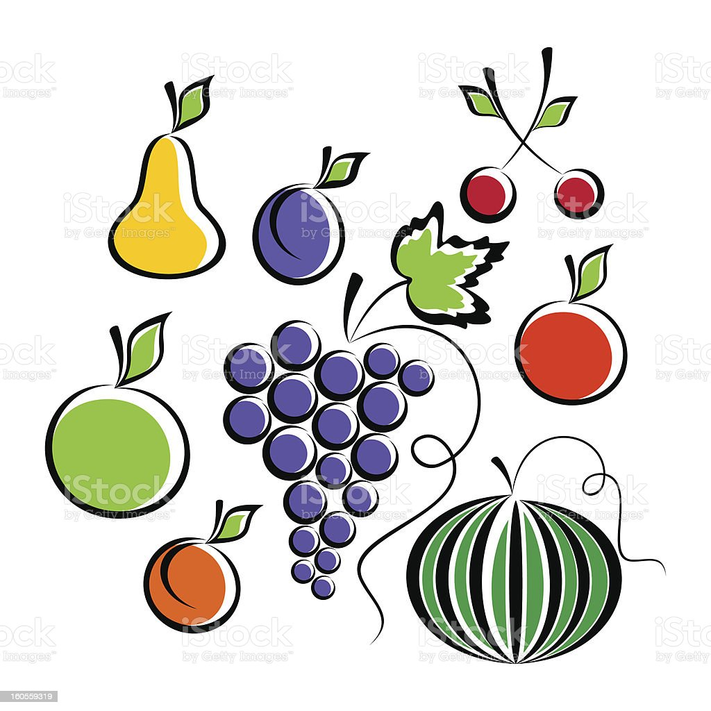Fruits and Berries. royalty-free stock vector art