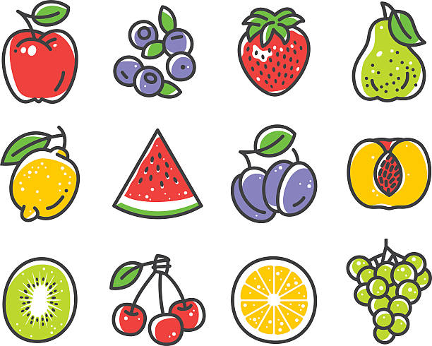 Fruits and Berries Fruits and Berries vector icons. Files included: Vector EPS 10, JPEG 4000 x 3000 px, transparent PNG, AI 17 berry fruit stock illustrations