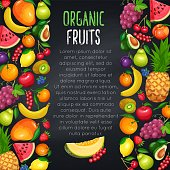 Fruits and berryes design page, border, vector illustration. Pineapple, raspberries, strawberries, grapes, currants and blueberries. Lemon, peach or apple pear orange watermelon avocado and melon
