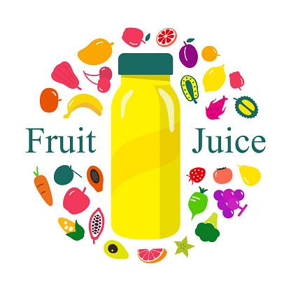 fruits and drink, Beverage bottle, vector