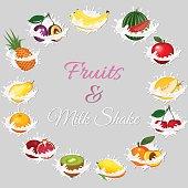 Splash of milk, caused by falling into a pear, melon, watermelon, apple, cherry, banana, kiwi, peach, pineapple, orange, garnet. Vector vegetarian organic healthy food cuisine. organic natural realistic fruit.
