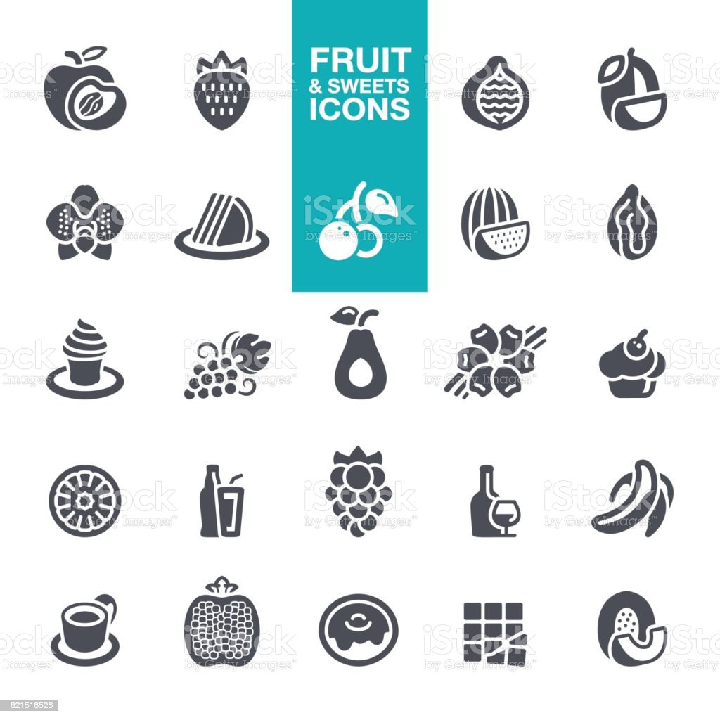Fruits and sweet Tastes icons vector art illustration