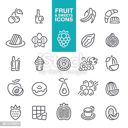 Fruit, flavors, tastes and flavorings, ingredients and scents for design, cosmetics , dairy products, line icons set